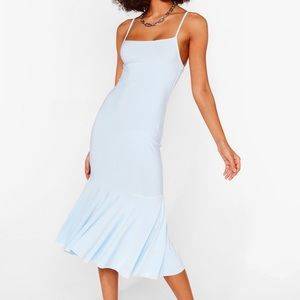 Pep There Be Love Square Neck Midi Dress in Blue